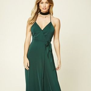 Forever 21 Hunter Green Wrap Maxi Gown